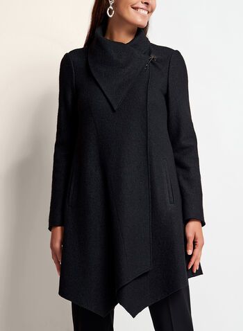 Drape Front Wool Blend Coat, Black, hi-res