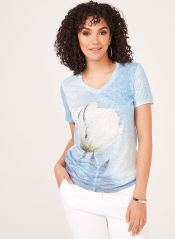 Crystal Embellished T-Shirt, Blue, hi-res