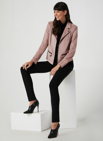 Faux Suede Jacket, Purple,  long sleeves, contrast trim, shoulder pants, faux suede, vegan, open front, notch collar, fall 2019, winter 2019