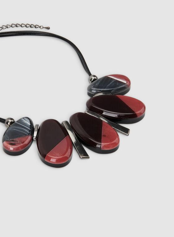 Collier court à pendentifs ovales, Noir, hi-res