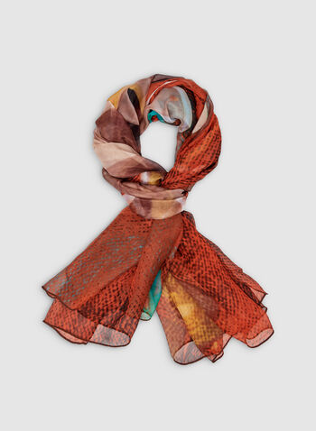 Daisy Print Scarf, Orange, hi-res