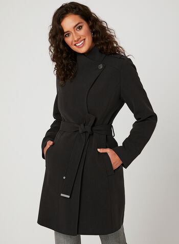 Belted Trench Coat, Black, hi-res