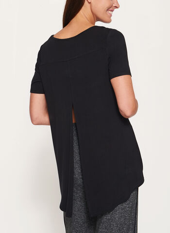 Split Back High-Low T-Shirt, Black, hi-res