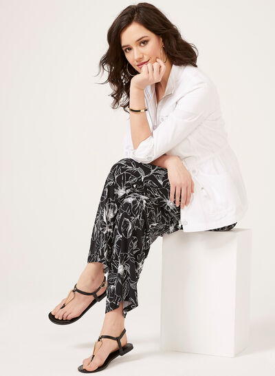 Abstract Print Pull-On Wide Leg Pants