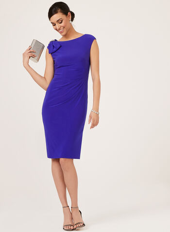 Jessica Howard - Sheath Dress With Bow Detail, Blue, hi-res