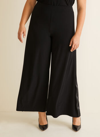 Joseph Ribkoff - Side Ribbon Wide Leg Pants, Black,  pants, wide leg, pull-on, jersey, side ribbon, spring summer 2020