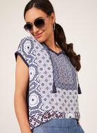 T-shirt à motif mosaïque et lien à pompons, Bleu, hi-res