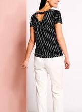 Zipper Trim Dot Print T-Shirt, Black, hi-res