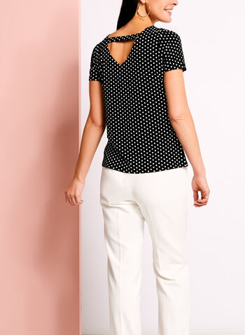 Zipper Trim Dot Print T-Shirt, , hi-res