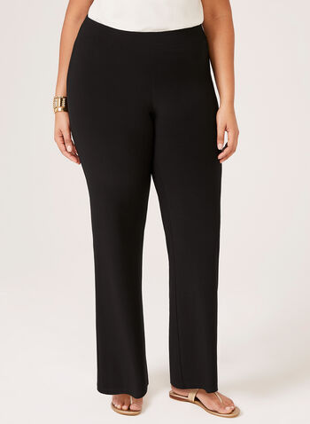 Pantalon pull-on à jambe large en jersey, Noir,  dress pants