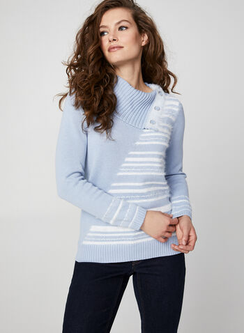 Hairy Yarn Striped Sweater, Blue,  sweater, knit, stripe print, striped top, cowl neck, button, striped sweater, yarn, top, fall 2019, winter 2019