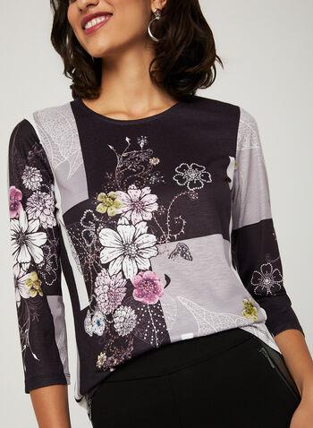 Floral Print Colour Block Top, Black, hi-res