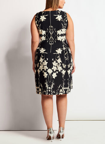 Floral Print Scuba Fit & Flare Dress, Black, hi-res