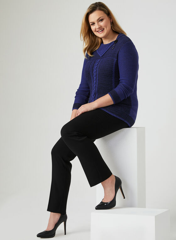 Split Collar Knit Sweater, Blue, hi-res