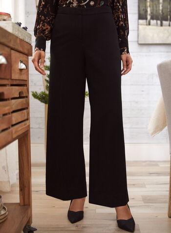 Pleated Palazzo Pants, Black,  pants, wide leg, pleats, palazzo, pockets, crepe, fall winter 2020