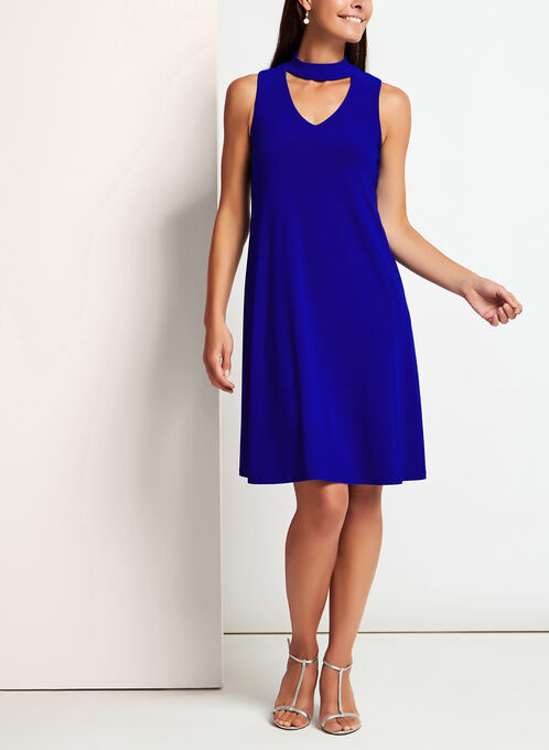 Jersey Choker Neck Trapeze Dress, Blue, hi-res