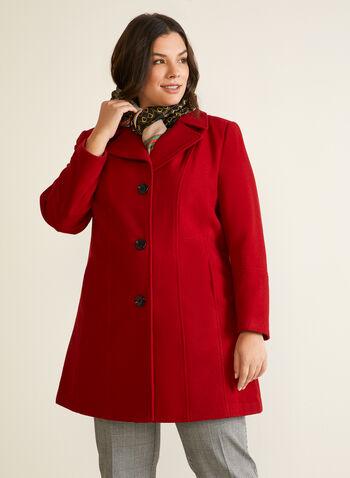 Manteau structuré en molleton, Rouge,  automne hiver 2020, manteau, structuré, molleton, laine, boutons, poches