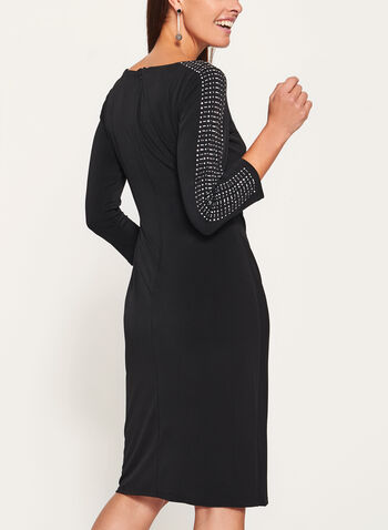 Jessica Howard - Embellished Sleeve Jersey Dress, Black, hi-res