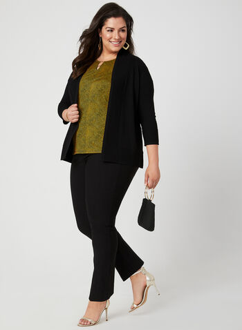 Textured Edge To Edge Cardigan, Black, hi-res