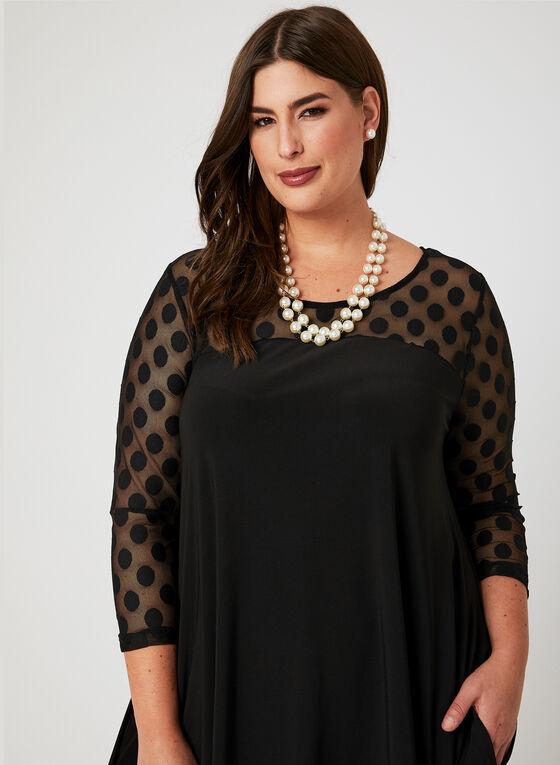 Nina Leonard - Yoke Neck Trapeze Dress, Black, hi-res