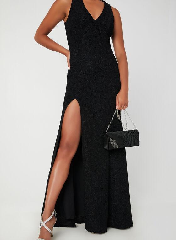 Sequined Split Skirt Dress, Black