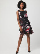 Tiered Day Dress, Black, hi-res
