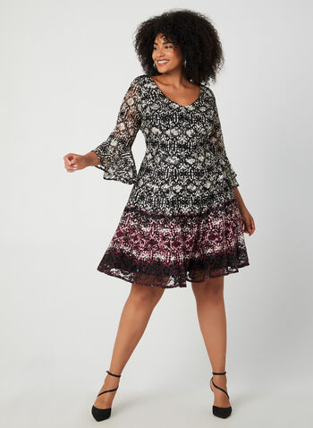 Bell Sleeve Lace Dress, Black, hi-res,  lace cocktail dress, bell sleeves, abstract print, fall 2019, winter 2019