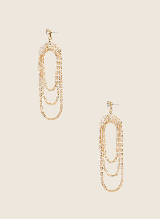 Triple Loop Dangle Earrings, Gold