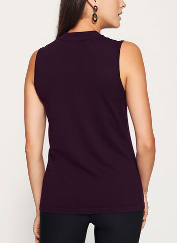 Sleeveless Embellished Mock Neck Top, , hi-res
