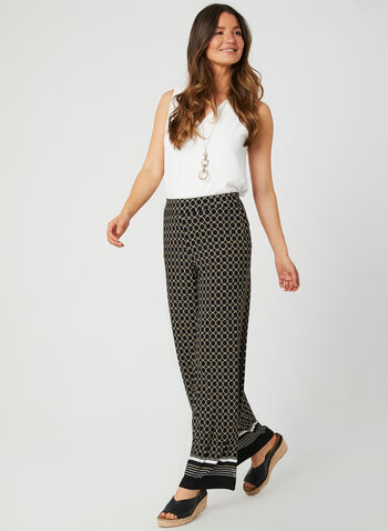 Geometric Print Wide Leg Pants, Black, hi-res,  modern fit, pull-on, stripes, jersey, fall 2019, winter 2019