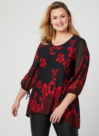 Baroque Print Tunic, Black, hi-res