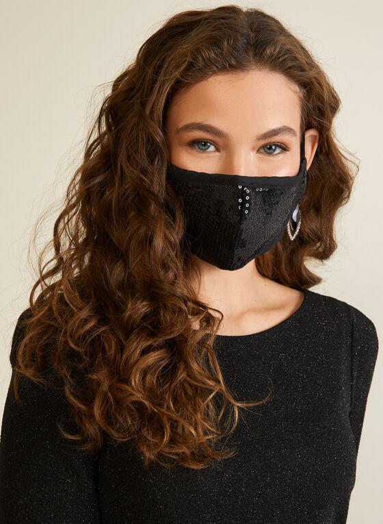 Masque réutilisable à sequins, Noir