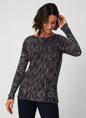 Long Sleeve Sweater, Blue,  fall winter 2019, knit, long sleeves