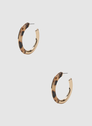 Open Curve Hoop Earrings, Gold, hi-res
