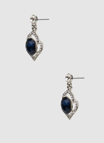 Stone Insert Glass Oval Earrings, Blue,  crystal earrings