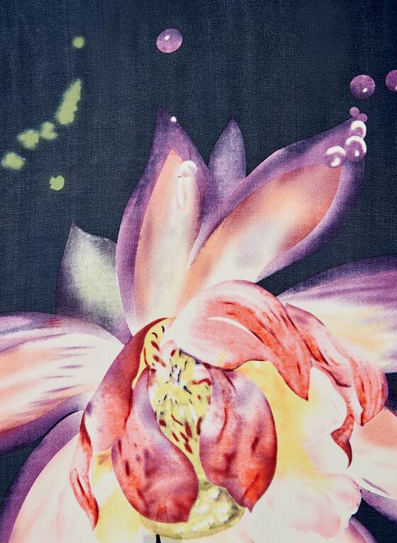 Foulard léger à imprimé floral, Bleu