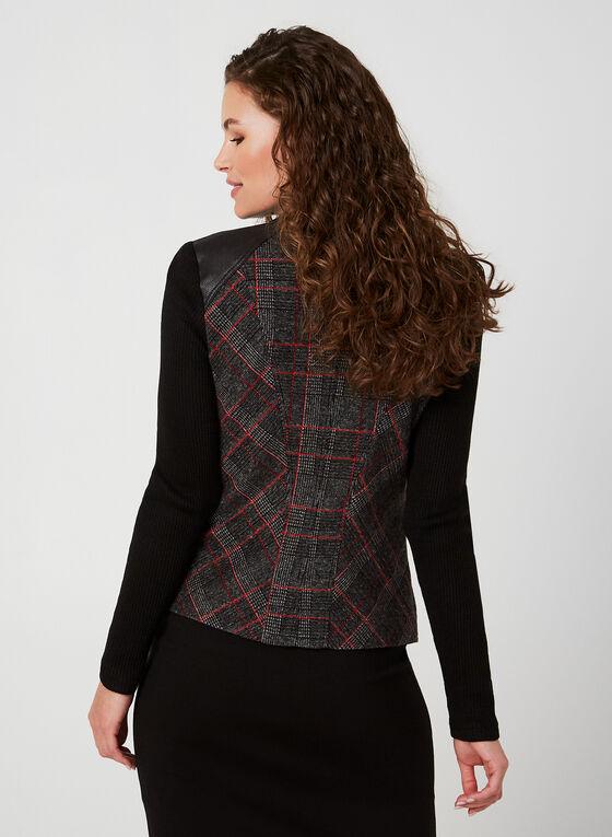 Vex - Veste à carreaux et détails en faux cuir, Noir