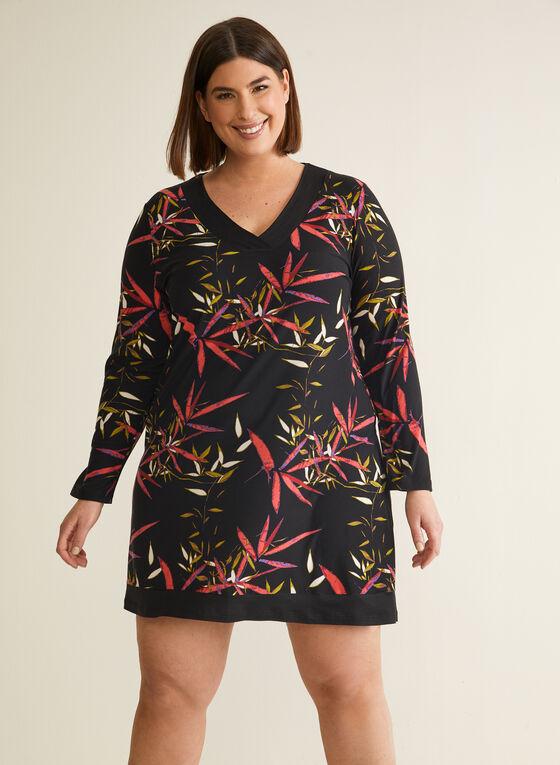 Floral Print Nightshirt, Black