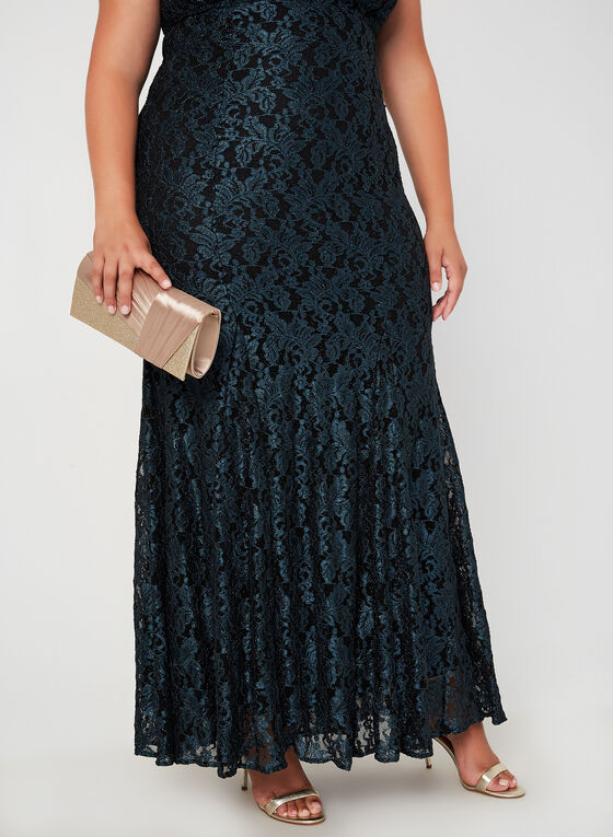 Glitter Lace Mermaid Gown, Green