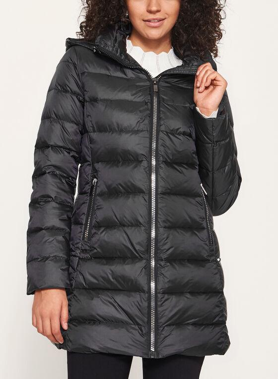Manteau matelassé avec capuchon amovible, Noir, hi-res