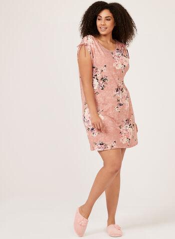 Hamilton - Floral Print Nightgown With Drawstrings, Pink, hi-res