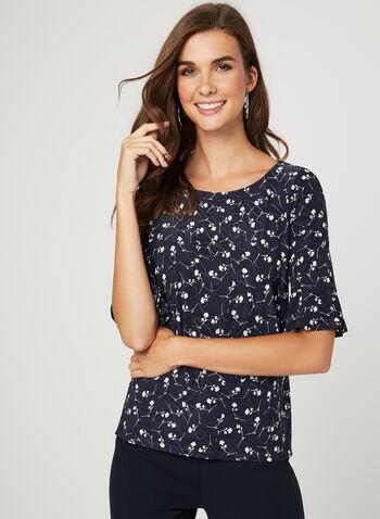 Floral Print Elbow Sleeve Top, Blue, hi-res