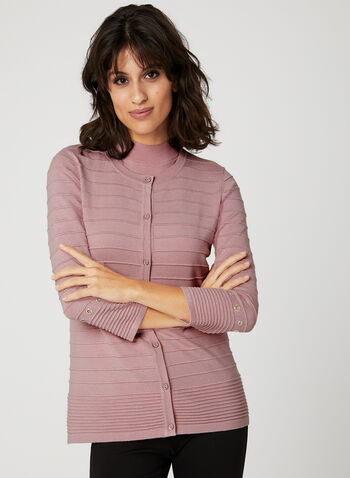 Cardigan en tricot texturé avec oeillets métalliques  , Rose, hi-res