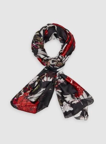 Floral Print Scarf, Red,  oversized, lightweight, oblong, tropical print, fall 2019, winter 2019