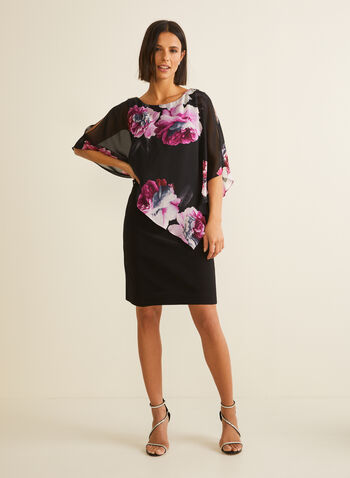 Floral Print Asymmetric Poncho Dress, Black,  dress, cocktail, floral, flowers, poncho, jersey, chiffon, cold shoulder, spring summer 2020