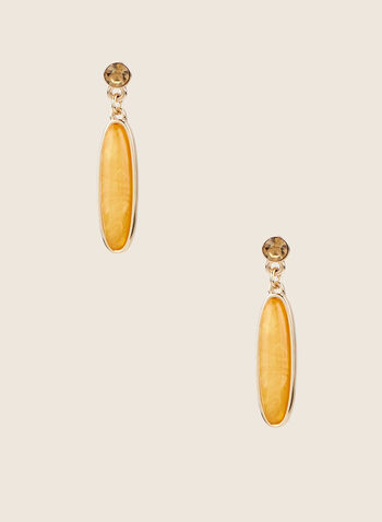 Oval Stone Dangle Earrings, Yellow,  earrings, stone, metallic, faceted, dangle, oval, spring summer 2020