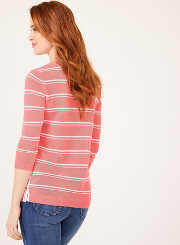 Button Detail Striped Knit Tunic, Multi, hi-res