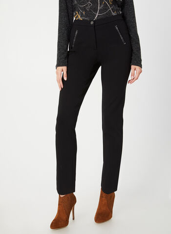 Ankle Length Straight Leg Pants, Black,  faux leather, vegan, straight leg, signature fit, fall 2019, winter 2019, high rise