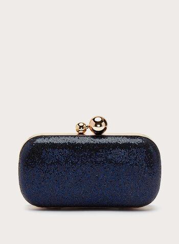 Metallic Detail Glitter Box Clutch, Blue, hi-res