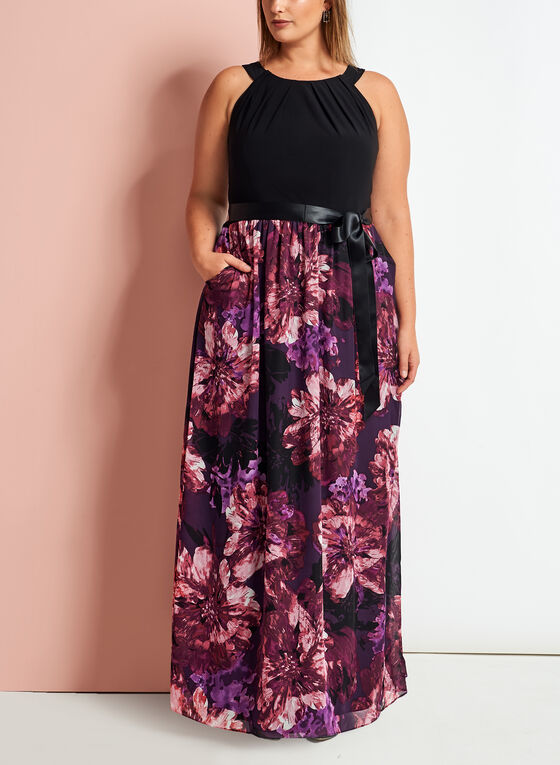 Cleo Neck Floral Print Maxi Dress, Black, hi-res